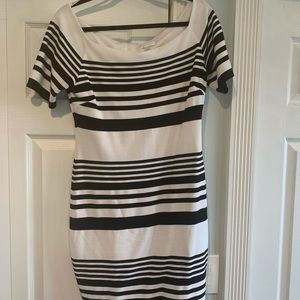 Off the shoulder black & white striped dress
